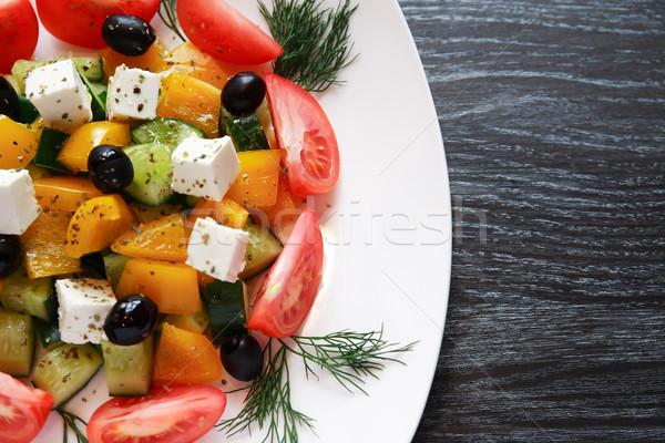 Görög saláta tányér előétel vacsora sötét Stock fotó © cosma