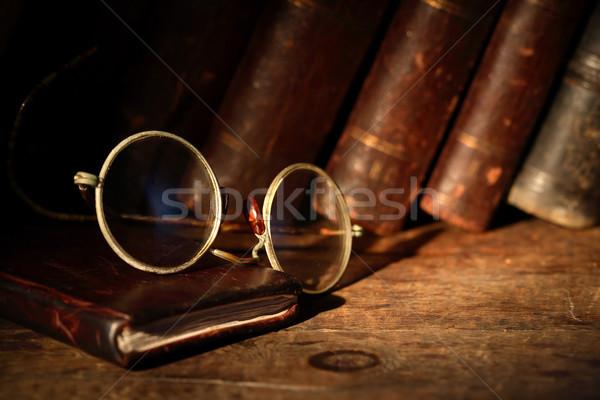 古い 眼鏡 革 ノートブック 図書 読む ストックフォト © cosma