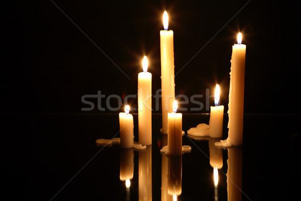Foto stock: Iluminação · velas · poucos · vidro · superfície · reflexão