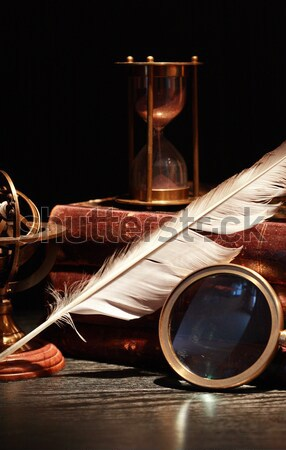 Bağbozumu natürmort küre dünya kitaplar kitap Stok fotoğraf © cosma
