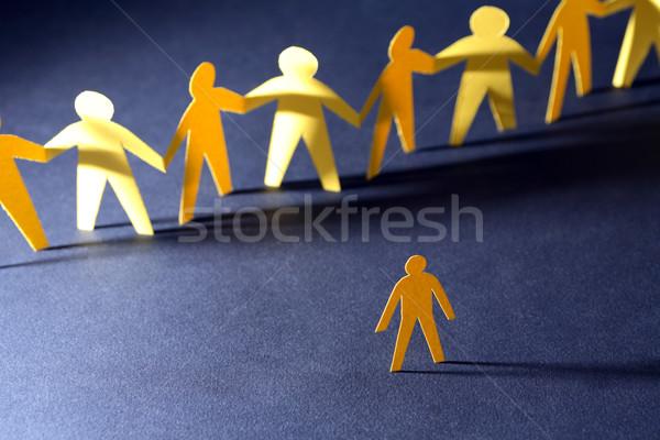Egy összes konfrontáció citromsárga papír férfi Stock fotó © cosma