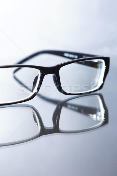 Modern szemüveg üveg fekete felület szürke Stock fotó © cosma