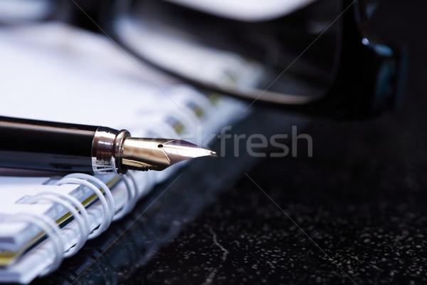 Töltőtoll notebook tárgyalás közelkép szép nyitva Stock fotó © cosma