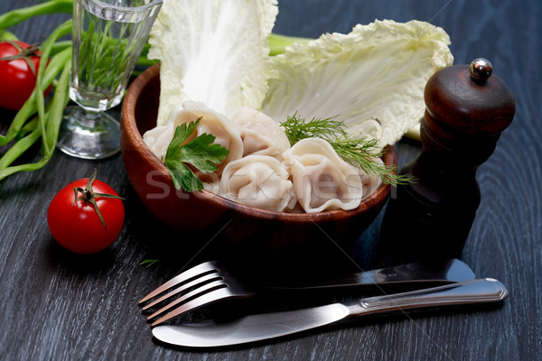 Schotel ravioli stilleven wodka groenten voedsel Stockfoto © cosma