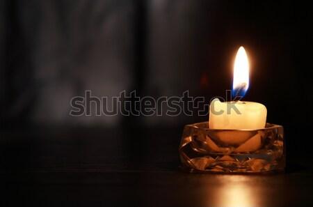 éclairage bougie vieux bois libre Photo stock © cosma
