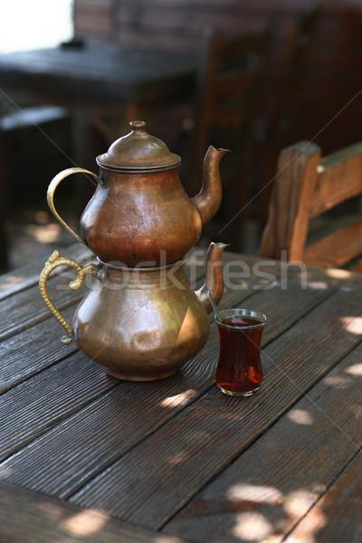 トルコ語 茶 伝統的な 銅 ティーポット ガラス ストックフォト © cosma