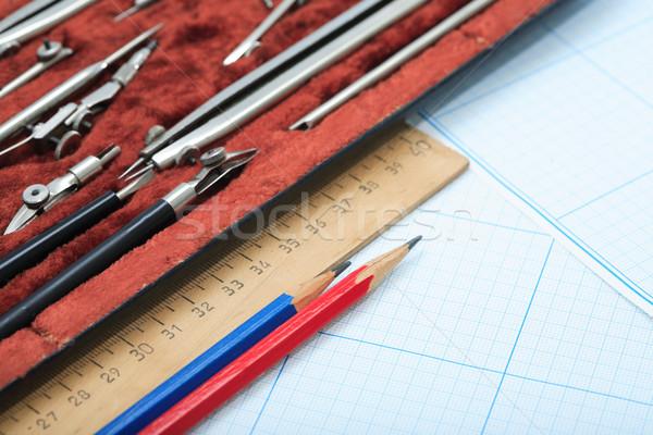 Rajz hangszer szett doboz vonalzó grafikon Stock fotó © cosma