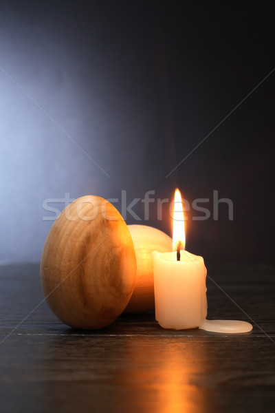 Wooden Eggs And Candle Stock photo © cosma