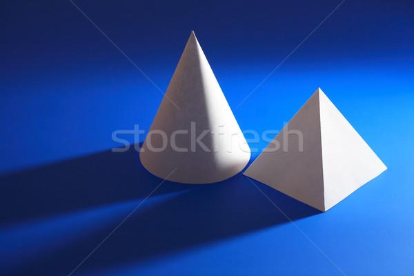 Fehér piramis kék mértan papír kúp Stock fotó © cosma