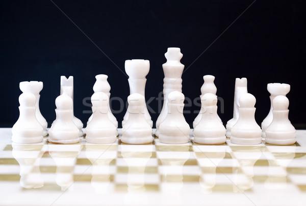 Schach Spiel Set Schachfiguren Bord dunkel Stock foto © cosma