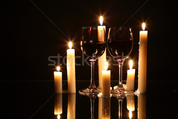 Wine And Candles Stock photo © cosma
