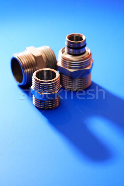 Ayarlamak Metal fındık mavi gölge teknoloji Stok fotoğraf © cosma