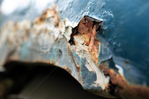 Metálico corrosión primer plano coche viejo lado panel Foto stock © cosma