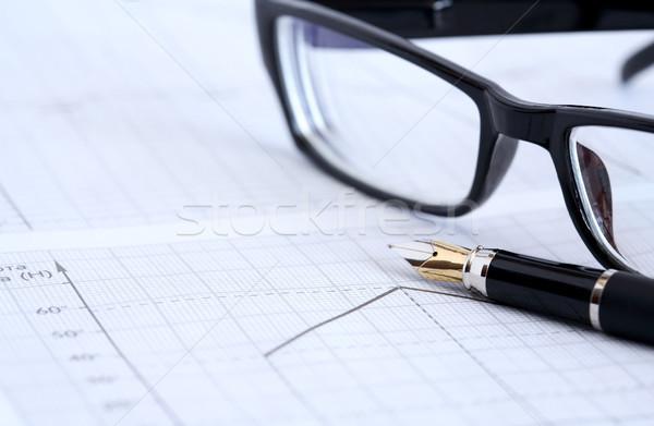 Inchiostro pen occhiali business primo piano penna stilografica Foto d'archivio © cosma