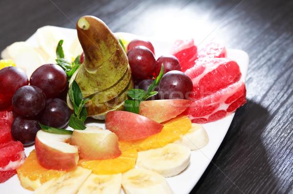 фруктовый салат пластина различный плодов темно Сток-фото © cosma