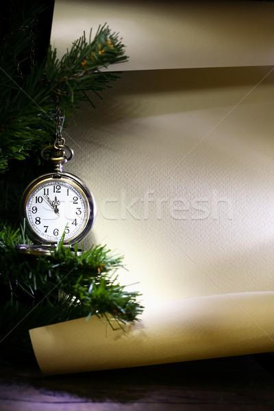 Nouvelle année début décoration vintage montre de poche suspendu Photo stock © cosma