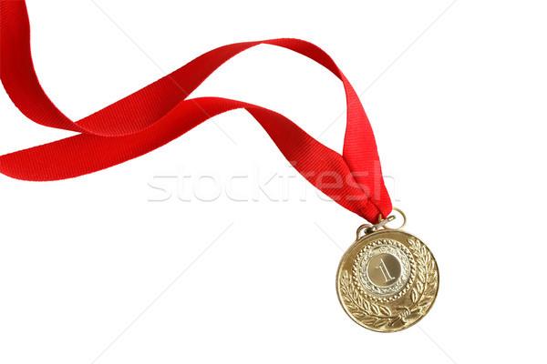 Aranyérem szép hosszú vörös szalag fehér izolált Stock fotó © cosma