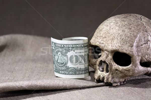 Dollár csőd emberi koponya egy számla Stock fotó © cosma
