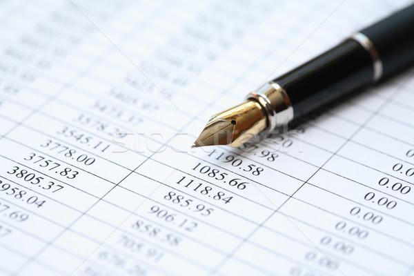 Financeiro escrituração caneta-tinteiro papel dígitos Foto stock © cosma