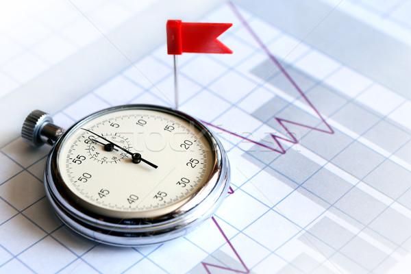 Iş başarı kırmızı bayrak kronometre kâğıt Stok fotoğraf © cosma
