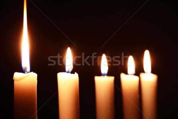 Beleuchtung Kerzen wenig Zeile dunkel Feuer Stock foto © cosma