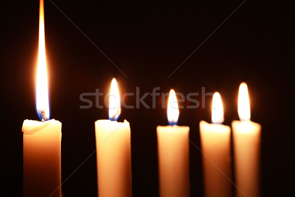 éclairage bougies rangée sombre feu Photo stock © cosma