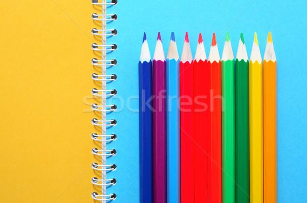 Ceruzák notebook művészet színes nyitva terv Stock fotó © cosma