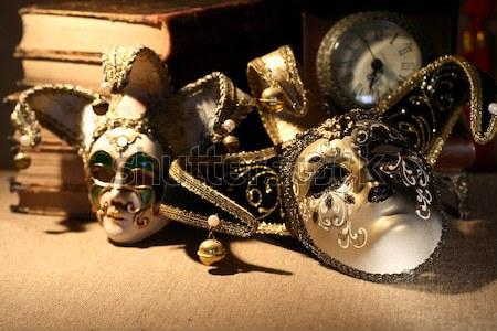 Libri maschere arte vintage ancora vita vecchio Foto d'archivio © cosma