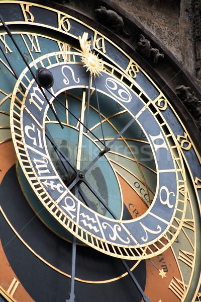 Prága csillagászati óra híres városháza torony Stock fotó © cosma