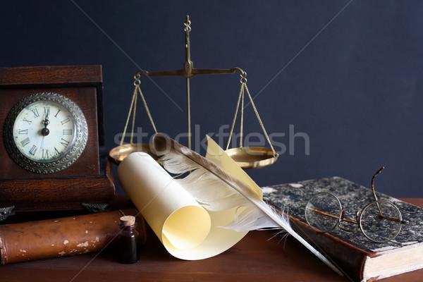Klasszikus csendélet toll tekercs egyéb dolgok Stock fotó © cosma