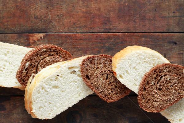 Sliced Bread On Wood Stock photo © cosma