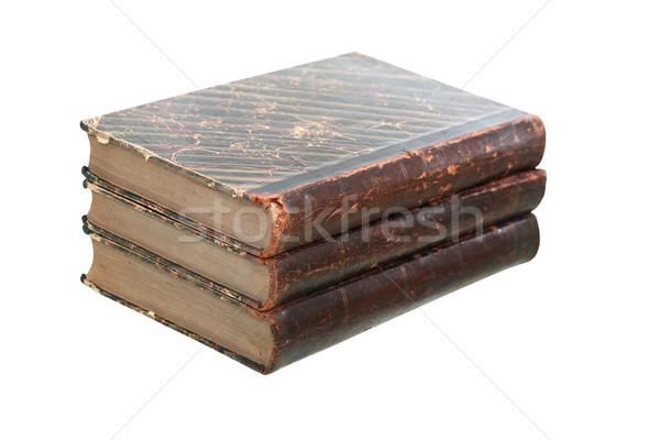 öreg könyvek izolált három fehér vágási körvonal Stock fotó © cosma