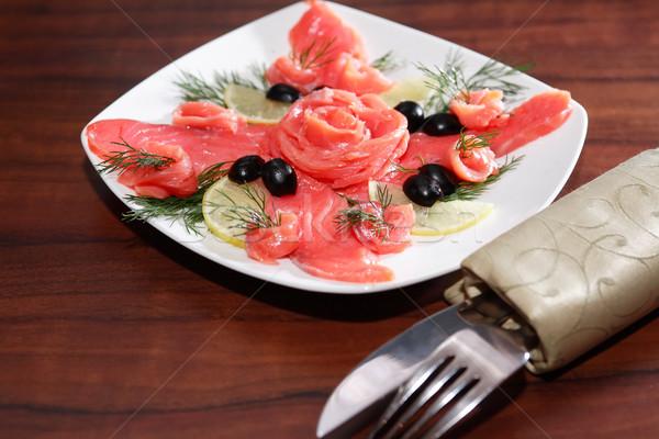 Antipasto salmone bianco piatto forcella coltello Foto d'archivio © cosma