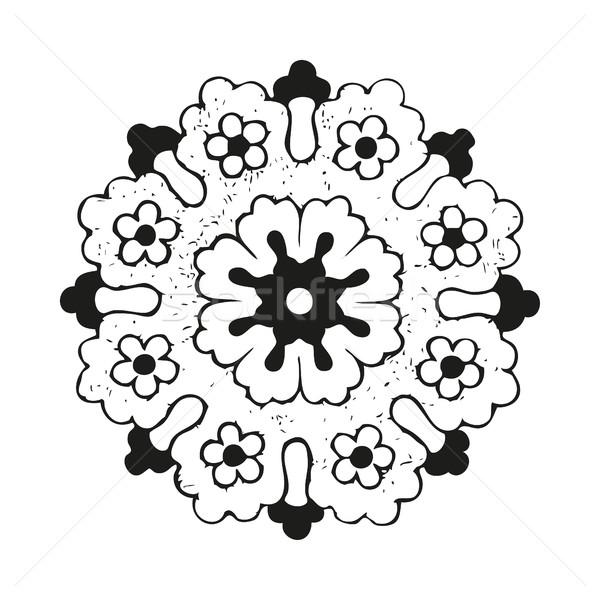 Vector round oriental flower vintage, circle background, lacy arabesque  Stock photo © cosveta