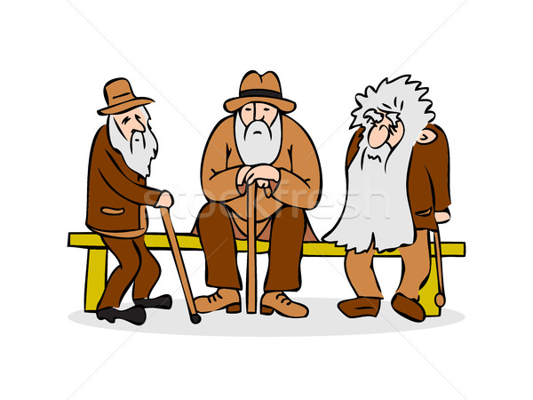 Funny three old men sitting on the bench. Old man with hat and w Stock photo © cosveta