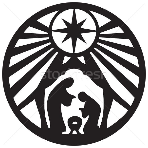 Holy family Christian silhouette icon vector illustration on whi Stock photo © cosveta
