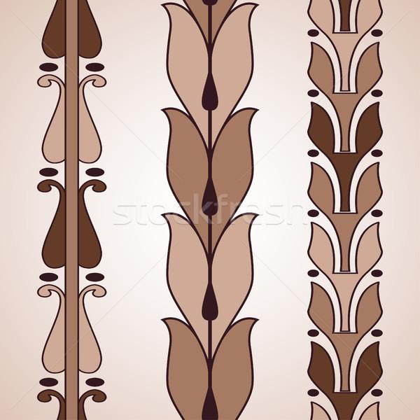 Klasszikus dekoratív szett barna virágmintás minta Stock fotó © cosveta