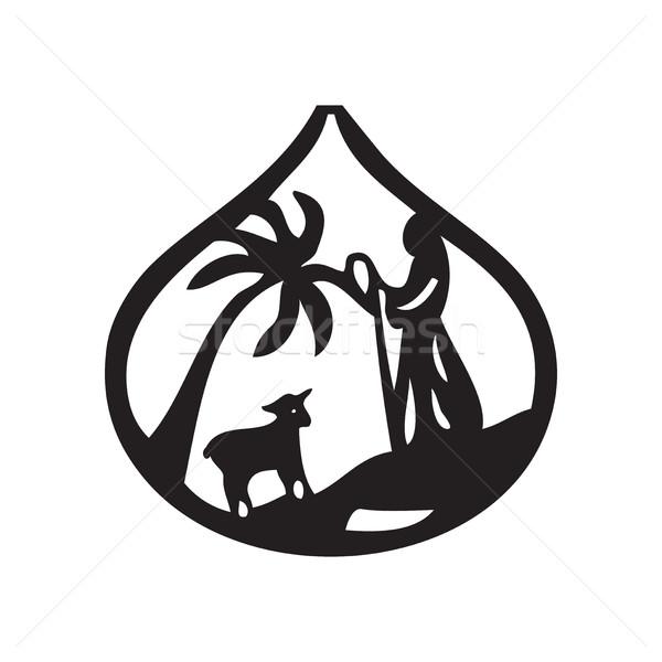 Jezusa liderem owiec sylwetka ikona biały Zdjęcia stock © cosveta