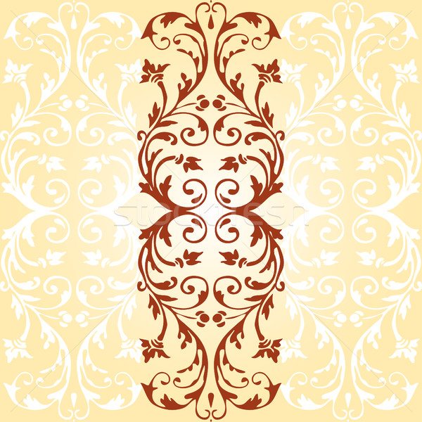 Vector card with vintage ornaments flourishes with floral elements border Stock photo © cosveta