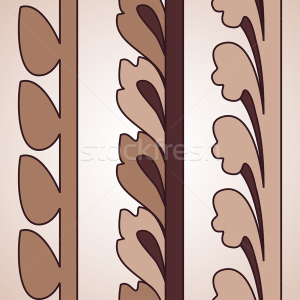 Vintage decorative set brown floral pattern seamless vertical bo Stock photo © cosveta