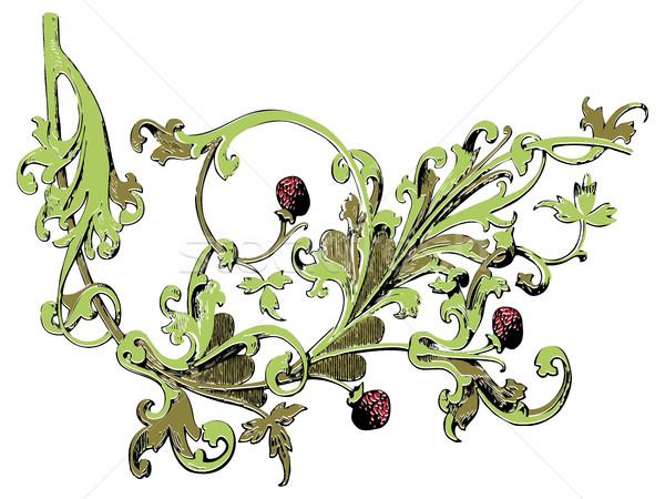 Odizolowany drzewo truskawki dekoracji wydruku Berry Zdjęcia stock © cosveta