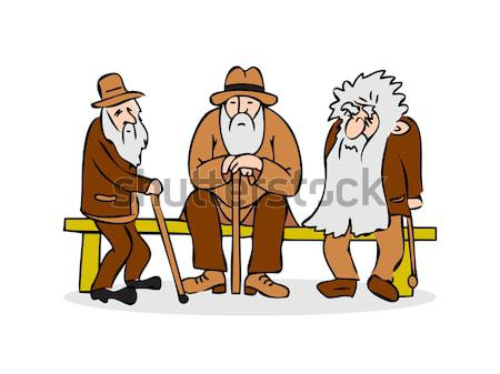 Funny three old mens sitting on the bench. Old man with hat and walking cane. Sad grandfather with a Stock photo © cosveta