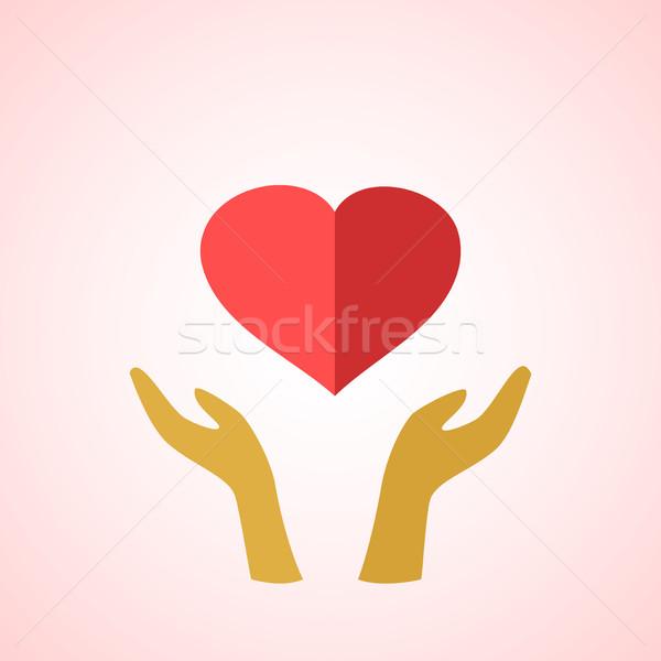 Estilizado vermelho coração mãos homem mulher Foto stock © cosveta