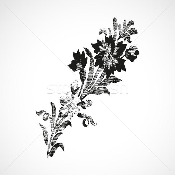 Foto stock: Ramo · flores · diagonal · vintage · isolado