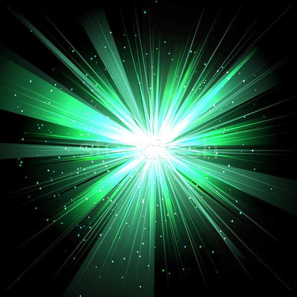 Star with rays white green in space isolated and effect tunnel s Stock photo © cosveta