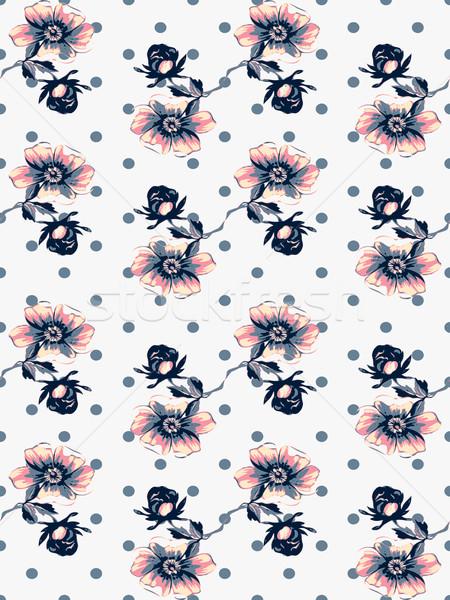 Naadloos steeg bloempatroon cirkels polka Stockfoto © cosveta