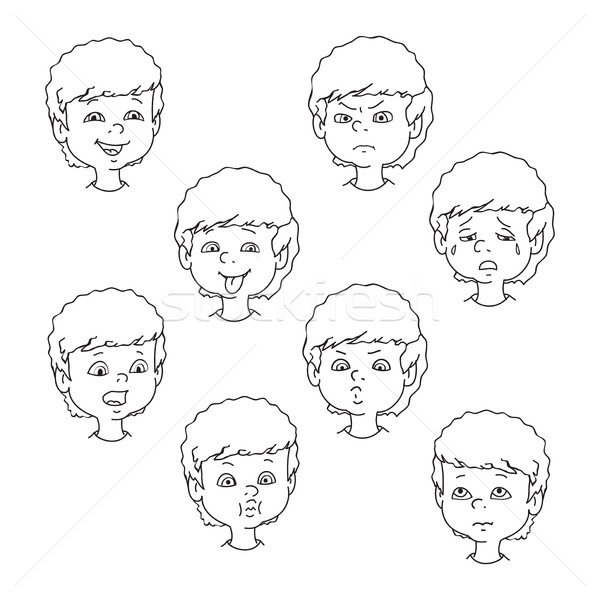 Stockfoto: Kind · gezicht · emotie · gebaren · zwart · wit · ingesteld