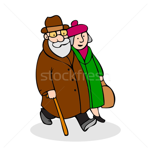 Happy elderly couple walking. Funny older man with a cane and a  Stock photo © cosveta