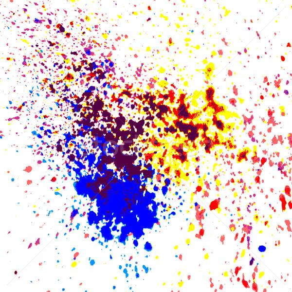 Colorful acrylic paint splatter shiny, blob on white background. Stock photo © cosveta