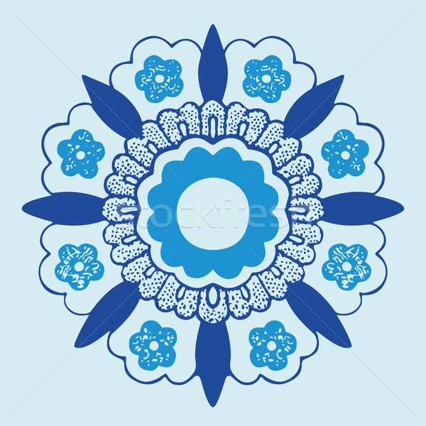 Flor silhueta padrão círculo renda Foto stock © cosveta